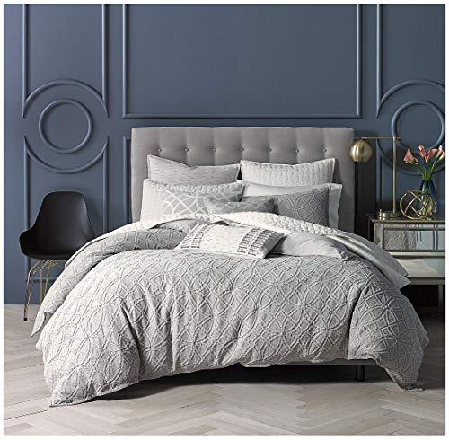 Nicole Miller King Duvet Cover Set 100% Cotton Matelasse, Light Grey, Gray Medallion Bohemian Textured Bedding