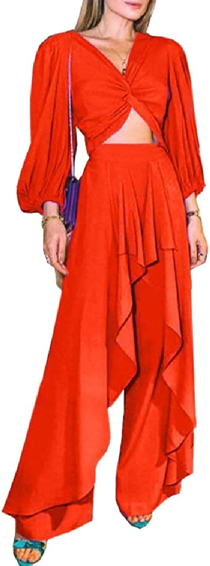 pujingge Womens V-Neck Crop Top and Wide Leg Long Pants Jumpsuits Set