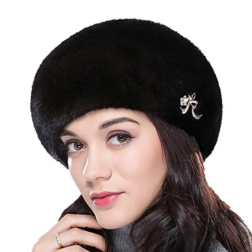 URSFUR Mink Fur Women's Beret Fur Hat With Shinning Rhinestone Brown