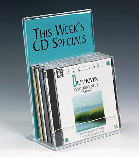 Acrylic Cd Holder - Set of 10, Clear Acrylic CD Holder with Sign Frame for Tabletop, Single Tier Rack for Storing 5 CDs