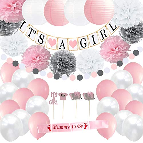 Girl Baby Shower Decorations Set | It's a Girl Banner | Party Paper Lanterns | Pink White & Silver Flower Tissue Pom Poms | Mommy To Be Sash | Balloons -