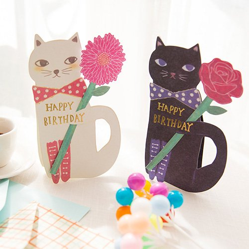Birthday Card Greeting Cat (2-Pack Stand-up Kitty Cat with Flower Birthday Cards with Envelope, Creative Greeting Cards Papercraft, Birthday Party Decoration£¨White & Black by Astra Gourmet)