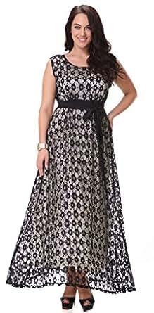 Yacun Women's Swing Bridesmaid Dress Lace Maxi Evening Gown Dresses Plus Size Black XL