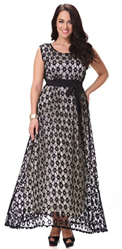 Yacun Women's Swing Bridesmaid Dress Lace Maxi Evening Gown Dresses Plus Size Black XXL