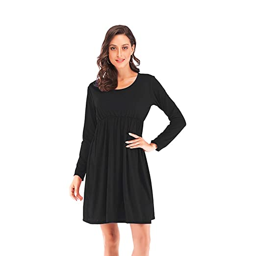 bb1b116981 Jentouzz Women Spring O Neck Casual Long Sleeve Above Knee Ruffle Mini Dress  Loose Party Dress