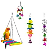 RZRZOO Bird Hanging Bell Toy Pet Parrot Hammock Swing for Small Medium Birds(4pack)