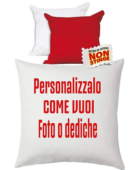BrolloGroup - Mini cojín Personalizable, Color Blanco y Rojo ...