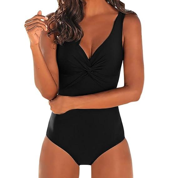 SHOBDW Moda Verano Mujer Pieza de Traje de Baño Nudo Diseño Mediados de Bikini Traje de