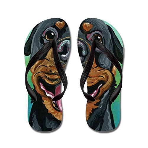 CafePress Rottweiler Dog - Flip Flops, Funny Thong Sandals, Beach Sandals Black