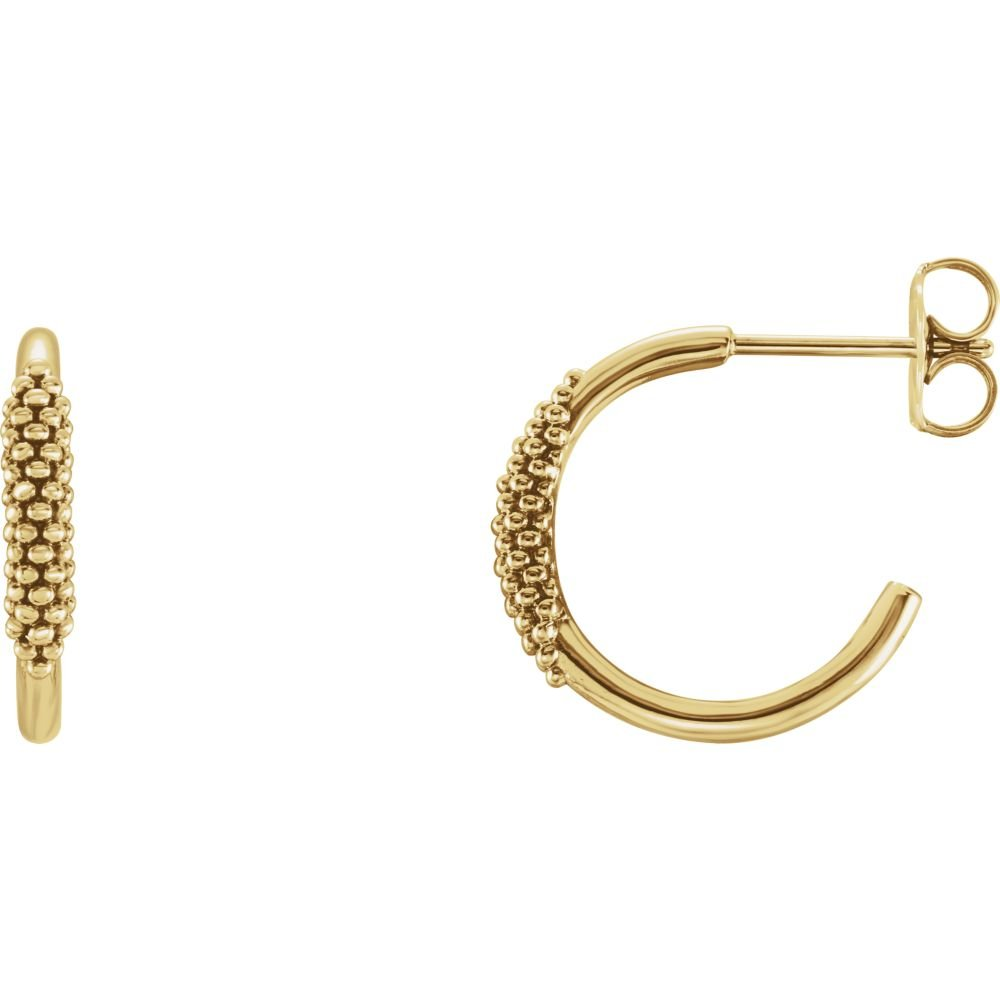 FB Jewels 14K Yellow Gold Pair Polished Beaded Hoop Earrings With Backs