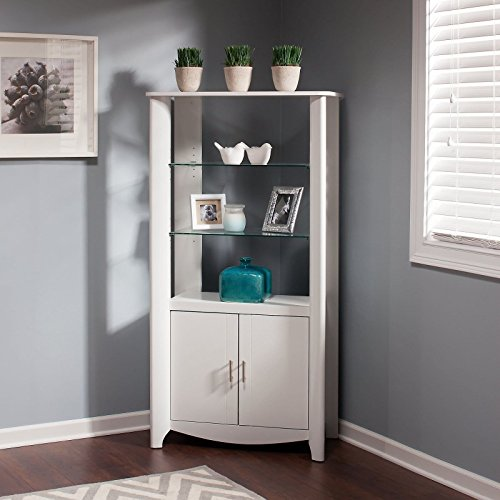 Tall Locking Media Cabinet (Bush Furniture Aero Tall Library Storage Cabinet With Doors In White)
