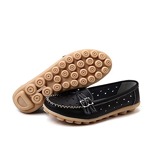Black Loafers Pumps Shoes Buckle Flats Boat S On Slip Moccasins Women's Ifashion CxXRvqw7q