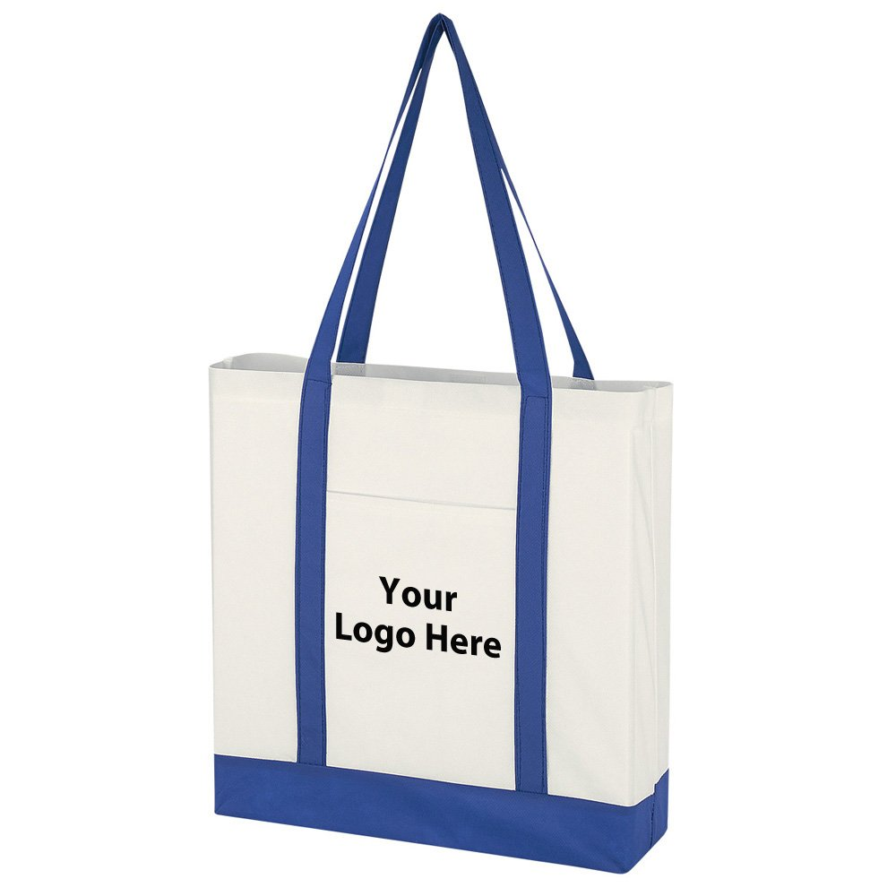 Non-Woven Tote Bag With Trim Colors - 100 Quantity - $1.95 Each - PROMOTIONAL PRODUCT / BULK / BRANDED with YOUR LOGO / CUSTOMIZED