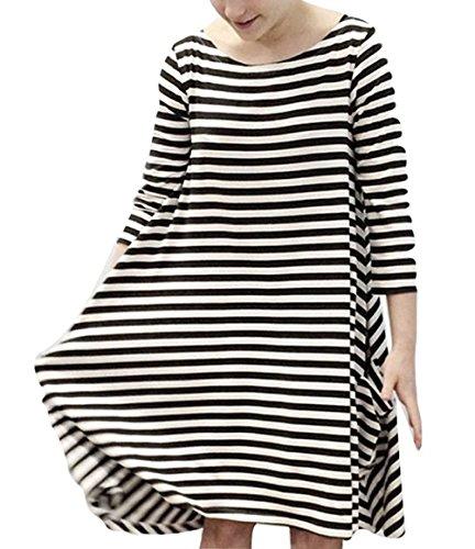 Battercake Kleider Familie Ausgestattet Mama und Tochter Elegant Schwarz  Weiß Gestreiften Casual Frauen Kleid 3  714dc075b1