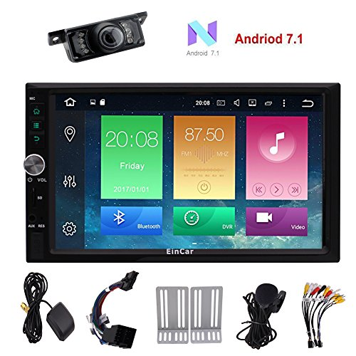 Android 7.1 Car Stereo Radio, 16GB+ 1GB Quad Core Double Din with Bluetooth,GPS Navigation,Support WiFi,MirrorLink,Backup Camera, USB SD,7 inch Touch Screen Head Unit,A Free exteral Microphone