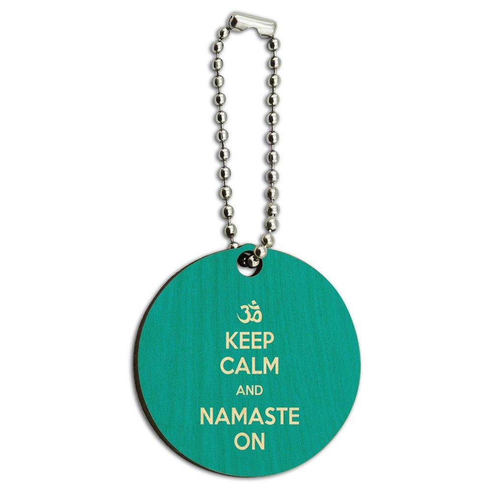 Keep Calm And Namaste On Yoga Wood Wooden Round Key Chain