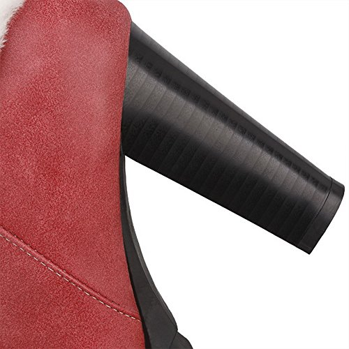 AllhqFashion Mujer Tacón Alto Caña Baja Cremallera Puntera Redonda Botas Rojo