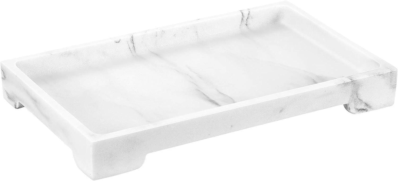 Luxspire Vanity Tray, Bathroom Toilet Tank Storage Tray, Resin Kitchen Sink Trays, Vanity Countertop Organizer for Candles Soap Towel Perfume Holder Decor Jewlery Dish, Marble Style -M- Gravel White