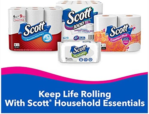 Scott ComfortPlus Toilet Paper, Equal to 36 Regular Rolls), Septic Safe Bath Tissue, White, 9 Count (Pack of one)