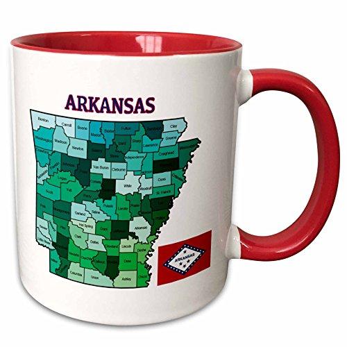 3dRose 172007_5 Ceramic Mug, 11 oz, Red/White