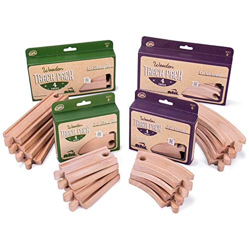 Conductor Carl Value Bundle of 4 Wooden Train Track Booster Sets | Deluxe Train Track Sets (16 pcs.) | Compatible with Major Brands | Classic Hobby Toy from Conductor Carl