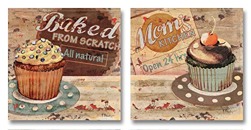 Fun, Vintage Dessert Cupcake Sign Prints Two Poster Prints