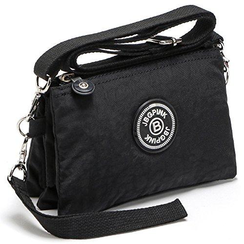 3 Layer Zipper Nylon Wallets for Women Wristlet Bag Purse Waterproof Cell Phone Pouch Handbag(B-Black) by J-BgPink
