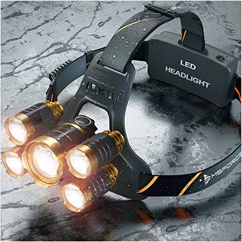 MsForce Newest and best Headlamp,Xtreme bright 5 LED head lamp provides 2500 lumens, USB Rechargeable headlamp flashlight,maximum comfort,Adults Head lamps for Camping and hunting, hard hat Headlight by MsForce (Image #1)