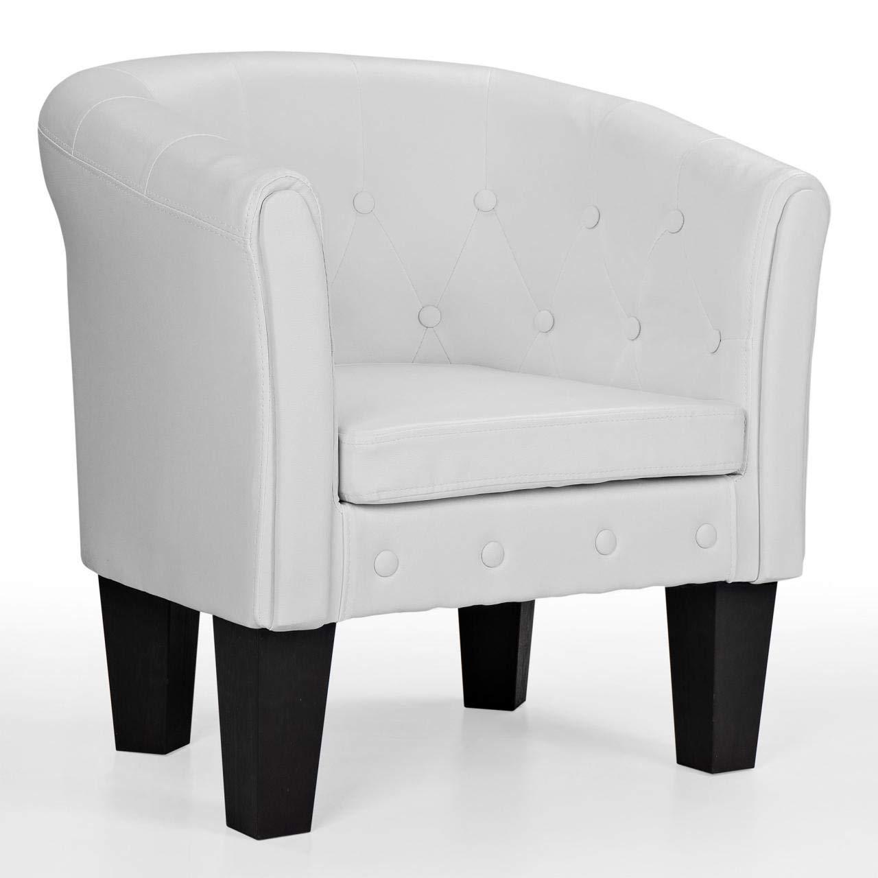 Homelux Chesterfield Sessel, aus pflegeleichtem Kunstleder und Holz, mit Rautenmuster, Farbwahl, Lounge Sessel, Clubsessel, Armsessel, Cocktailsessel, Wohnzimmer Möbel, Design-Polstermöbel, Weiss