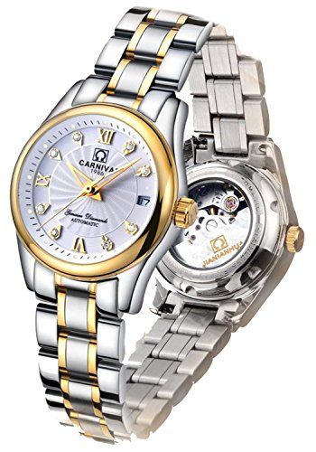 (Carlien Women's Diamond Watch Automatic Mechanical Waterproof Ladies Gold)
