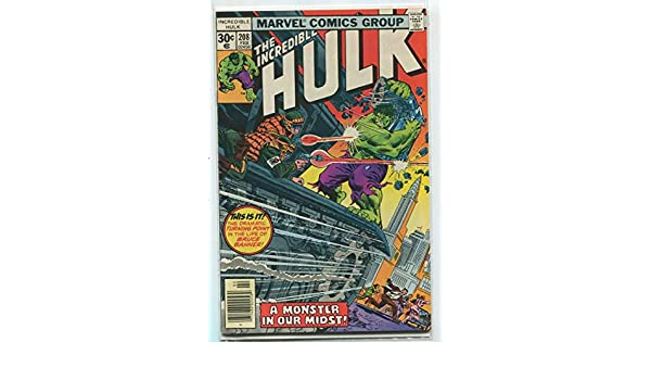 Amazon.com: The Incredible Hulk #208 VF/NM A Monster In Our ...