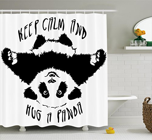 Black And White Shower Curtain By Ambesonne Funny Animal Mascot NYMB Lovely Panda