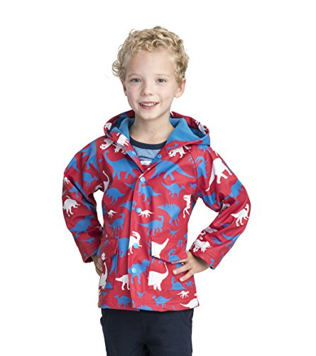 Hatley Boys' Little Printed Raincoats, Dino Silhouettes, 2 (Best Rain Boots 2019)