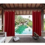 Macochico Thermal Insulated Privacy Protection Noise Buffer Home Fashion Tab Top Blackout Curtains Indoor Outdoor for Patio Gazebo Garden Backyard Living Room 84Wx 102L Red (1 Panel)