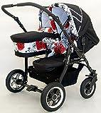 Carro doble niños diferentes edades. Un capazo+2 sillas+accesorios. Negro-blanco+rojo.