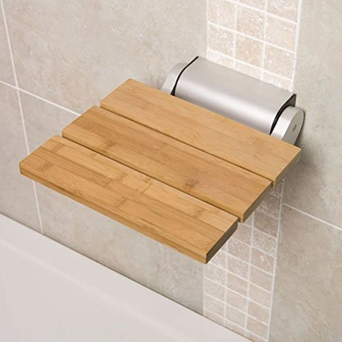 Hudson Reed Wall Mounted Wooden Folding Shower Seat In A