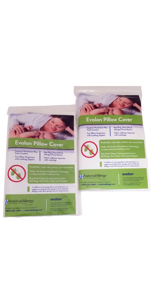 Evolon Allergy Pillow Protector | Standard Zippered Encasement| Dust Mite, Bed Bug & Allergen Proof Cover (2, 21x31)