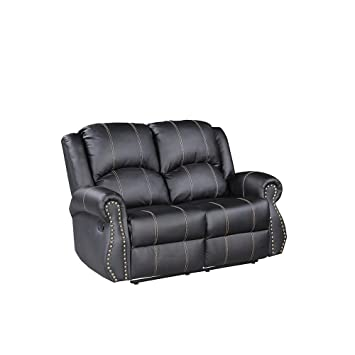 Amazon Com Mecor Bonded Leather Recliner Gold Thread Reclining Sofa
