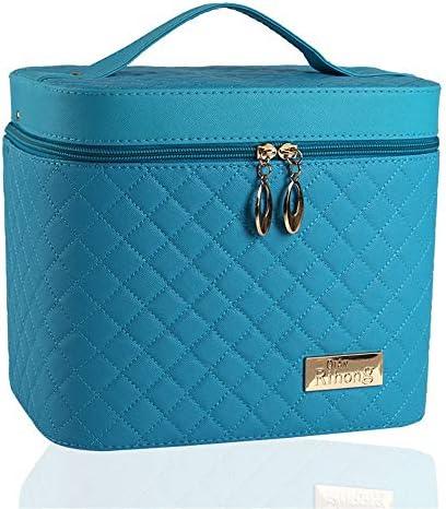 化粧品袋 多機能化粧品収納袋ポータブルトラベルコスメティックバッグ大容量の化粧ケース 旅行化粧収納ボックス (Color : Blue)