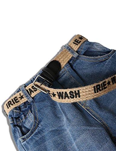 WIYOSHY Girls Skinny Ripped Elastic Pull On Denim Jeans Belt Age 5-14 Years (Blue, 7/8 (140)) by WIYOSHY (Image #2)