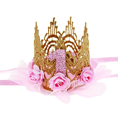 Infant Pink Princess Crown Hat (HMGOOD Baby First Birthday Crown Rose Flower Lace Tiara Headband Birthday Party Hat Hairband)