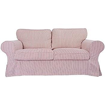 KEQIAOSUOCAI The Heavy Ektorp 2 Seat Sofa Cover Made For Ikea Ektorp Sofa  Slipcover,Red And White By