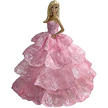 Romantic Ball Gown Strapless Ruffled Layers Pink Dress for 11.5 inches Doll