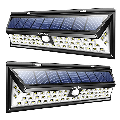 LITOM Solar Lights Outdoor 54 LED Super Bright Wide Angle Motion Sensor Lights Wireless Waterproof Security Solar Light for Front Door Yard Garage Deck Porch Shed Walkway Fence 2 Pack