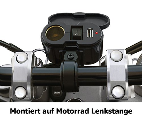 EKLIPES EK1-110B Black Cobra Ultimate Motorcycle USB Charging System