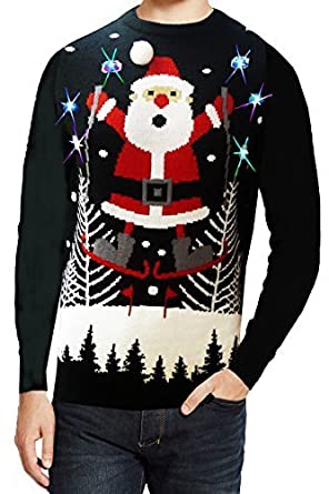 Seasons Greeting Light Up Christmas Jumper - Skiing Snowman - Black - Large  42