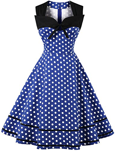 Ouhuang Women's Bowknot Sweetheart Sailor Stripes Polka Dots Vintage Dress OH1601B3-L (Dress Sailor Wiggle)