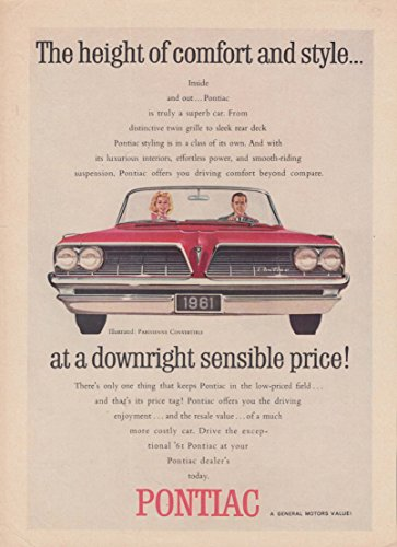 The height of comfort & style Pontiac Pariesienne Convertible ad 1961 Canada