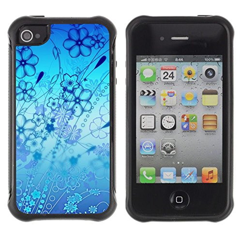Apple Iphone 4 / 4S - Flowers Blue Ocean Art Nature Wallpaper