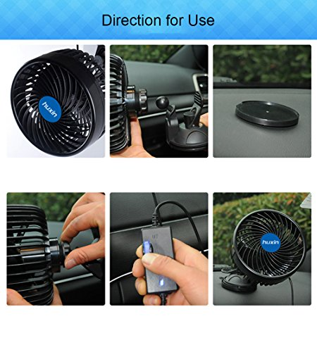 Wua 12V 6 inch Car Cooling Fan Automobile Vehicle Adjustment Suction Cup Fan Powerful Quiet Ventilation Electric Fans with Suction Cup & Cigarette Lighter Plug for Car/ Vehicle by Wuao (Image #5)